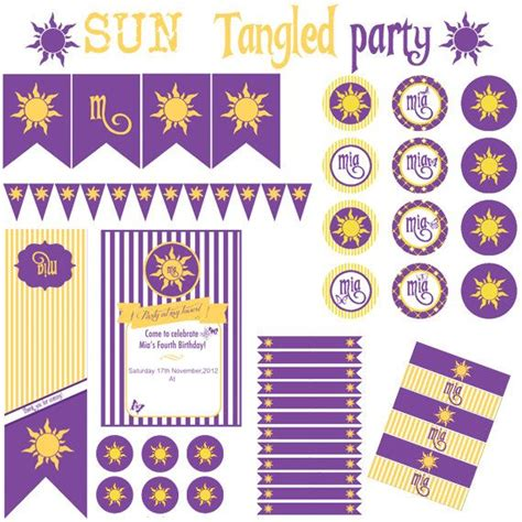 tangled printable party decorations sun tangled rapunzel party festa a tema sole rapunzel