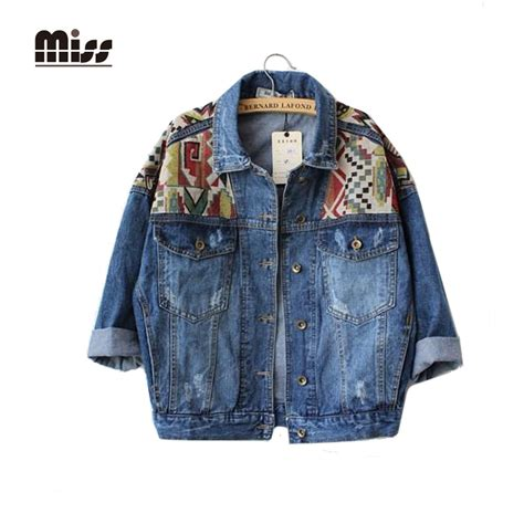 Jaket Bomber 2in1 Denim Cowok miss 2016 jean jacket embroidery bomber casual coat jaket patchwork