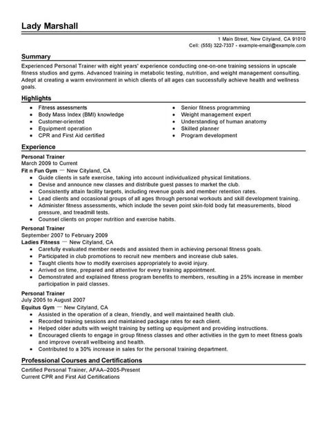 Trainer Resume by Best Personal Trainer Resume Exle Livecareer