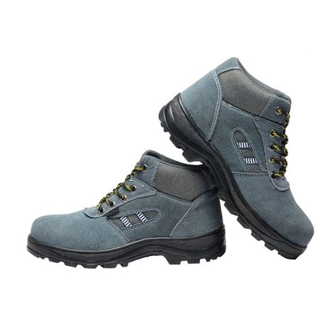 pas mens boys gray leather safety shoes breathable