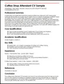 Cafe Attendant Sle Resume by Coffee Shop Attendant Cv Sle Myperfectcv