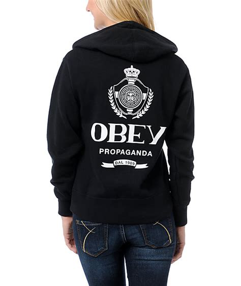 Hoodiezipper Obey obey nada black zip up hoodie