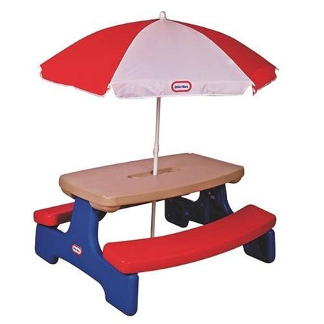 little tikes picnic table red little tikes easy store table with umbrella girls
