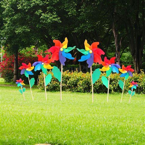 Garden Flower Windmills Multi Colorful Holographic Garden Windmill Flower Window Home Decor Ebay