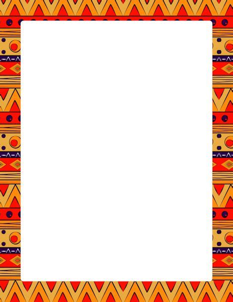 african pattern frame page border featuring colorful tribal patterns free