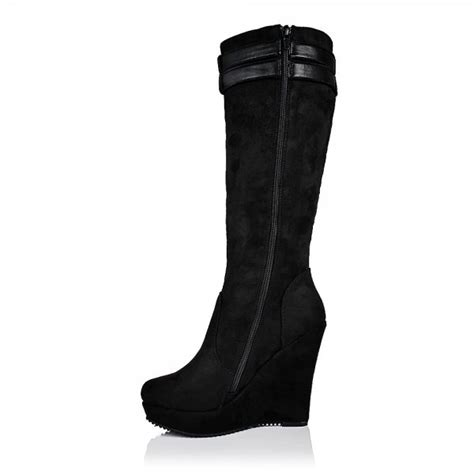 buy wedge heel platform knee high boots black suede