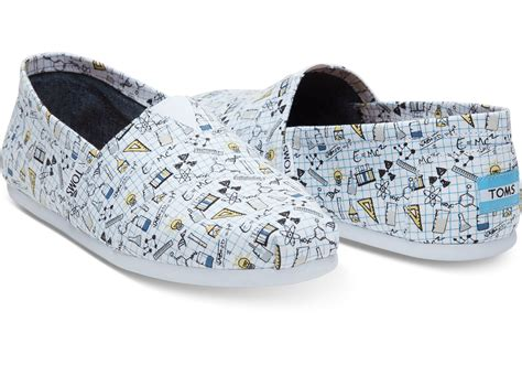toms periodic table shoes lyst toms chemistry print canvas s classics in blue