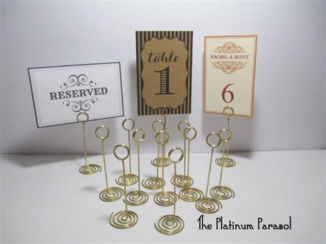 gold table card holders antique gold ring style table number stand card holder