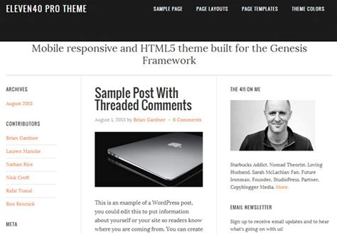 Studiopress Eleven40 Pro Theme V2 2 3 10 themes based on genesis 2 0 and html5 beginwp