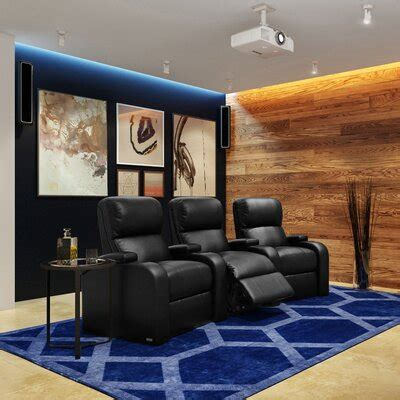 seat leather theater seating youll love   wayfair