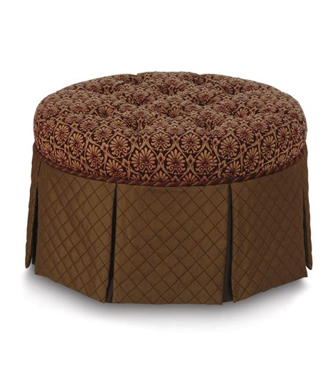 round tufted skirted ottoman luxury bedding by eastern accents ennis plum round ottoman