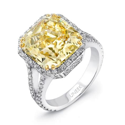 7 72ct radiant cut fancy yellow engagement ring