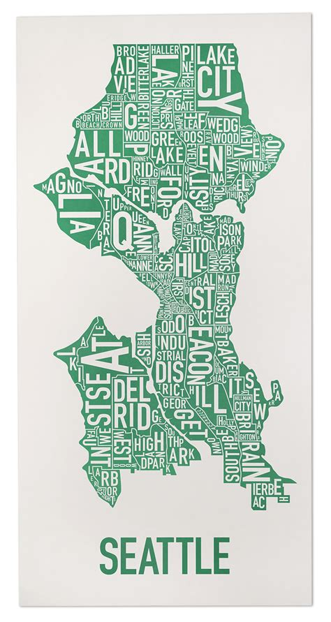 seattle map neighborhoods poster seattle neighborhood map 16 quot x 32 quot emerald city green poster