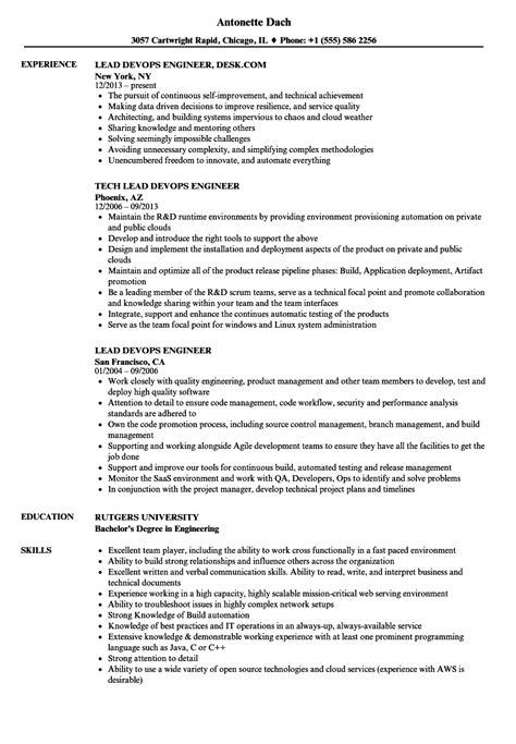 Devops Resume by Lead Devops Engineer Resume Sles Velvet