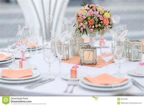 Fancy Place Setting Table Set For An Event Party Or Wedding Reception Royalty