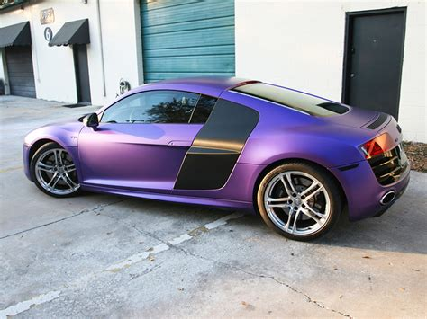 wrapped cars audi r8 purple wrap vehicle wraps 1