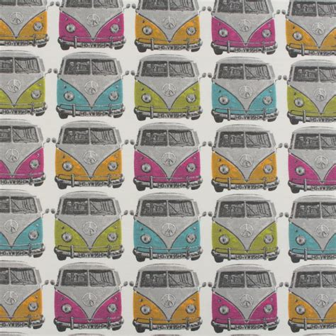 Vw Upholstery Fabric by Heavyweight 100 Cotton Linen Look Retro Vw Cer