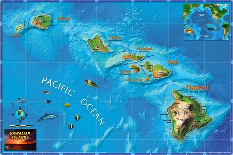 map of hi hawaii illustrated state map from compart