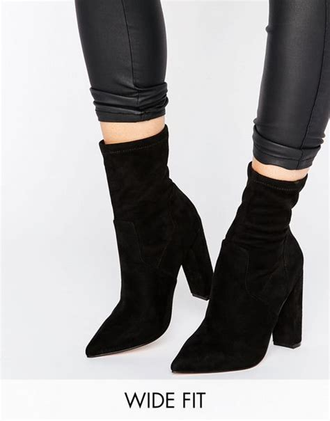asos asos elba wide fit pointed sock boots