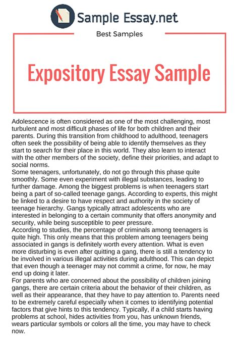 Expository Essay Exles For by Best Expository Essay Sles Sle Essay