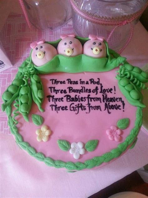 Three Peas In A Pod Baby Shower by Three Peas In A Pod Triplets Baby Shower Cake My Cakes