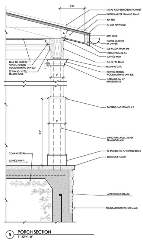 construction section drawing porch column and roof cornice detail id375 pinterest