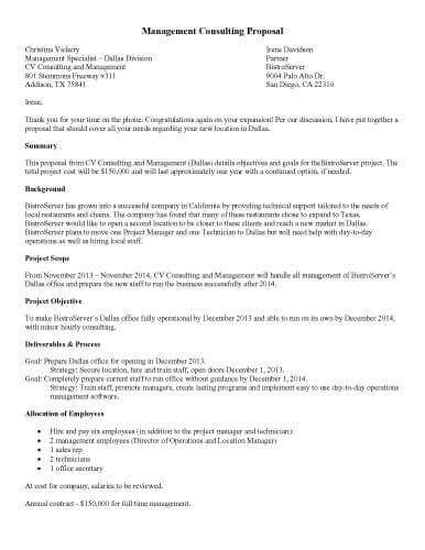 templates printable sle management consulting proposal