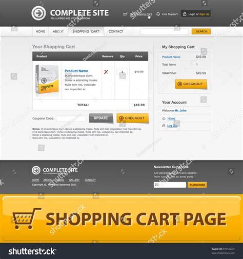 Shopping Cart Web Design Template Grey Stock Vector 89152699 Shutterstock Shopping Cart Design Templates