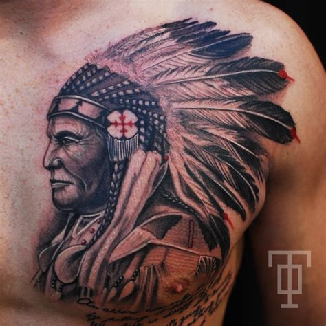 indian head tattoo 12 indian tattoos on chest