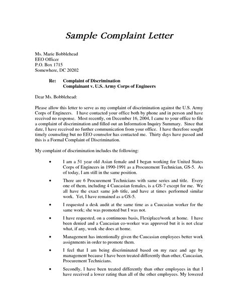 Formal Complaint Letter Against Manager sle eeo complaint letter cover letter sle 2017