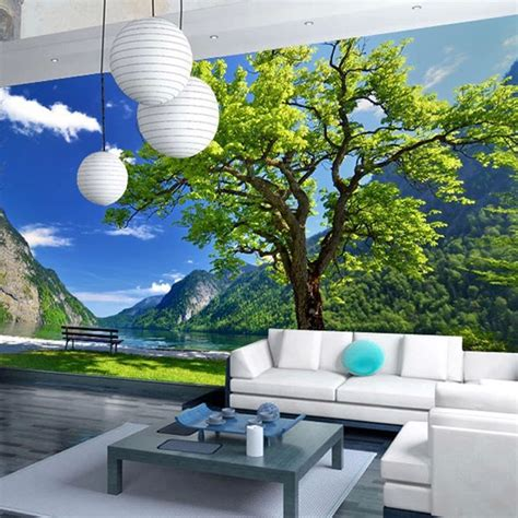 Custom 3d Photo Wallpaper Seascape Palm Wall Covering Mural Roll custom 3d photo wallpaper pastoral landscape trees living room sofa bedroom tv background wall