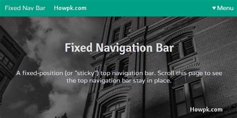 Html Fixed Top Bar by How To Make Fixed Navigation Bar In Html And Css Howpk