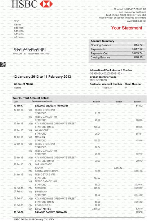 uk bank statement templates hsbc bank statement template best business template