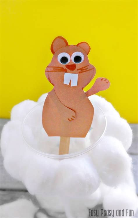 day easy crafts simple groundhog day craft easy peasy and