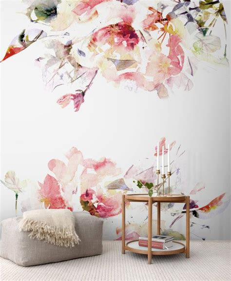 floral removable wallpaper spring floral removable wallpaper watercolor wall mural