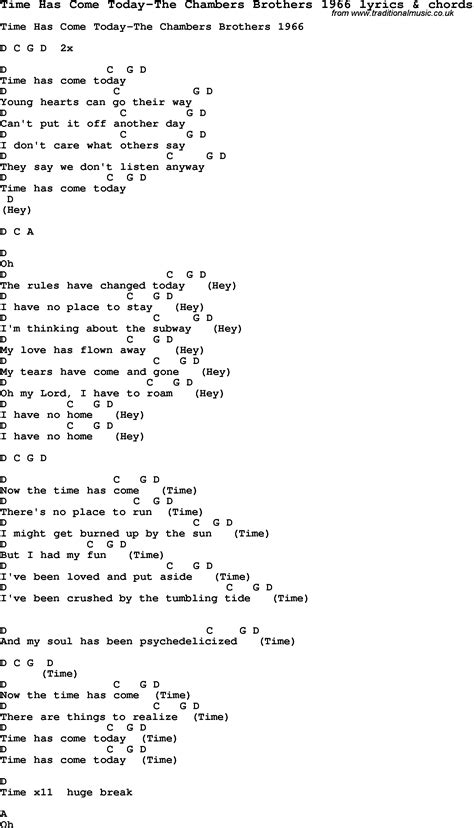 house of chambers lyrics song lyrics for time has come today the chambers brothers 1966 with chords