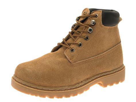 boys mens desert ankle boots lace up faux suede