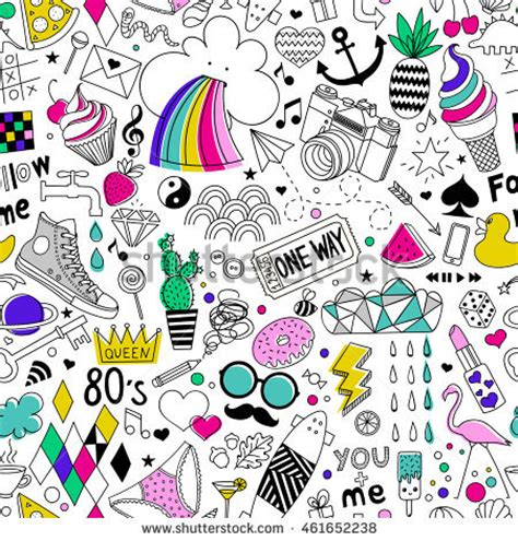 item doodle draw handdrawn seamless vector pattern doodle stock