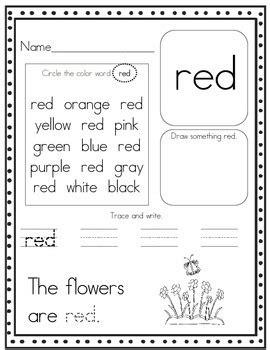 color words worksheet print and go pre k and kindergarten color word worksheets