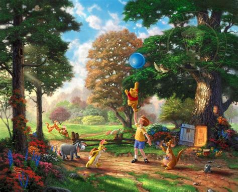 disney wallpaper thomas kinkade winnie pooh thomas kinkade family disney fantasy wallpaper