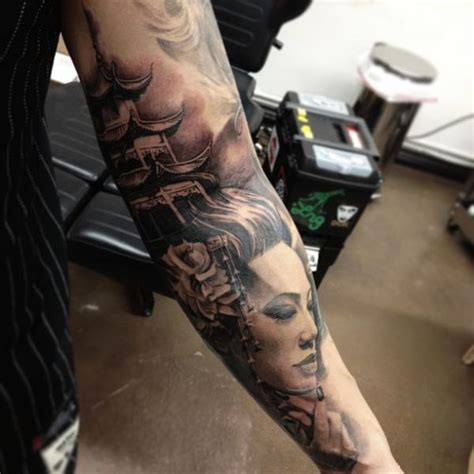 tatuaje brazo japoneses geisha por carlos torres