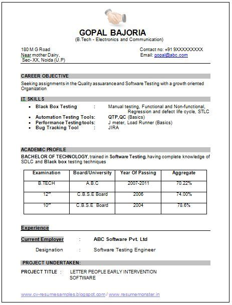 resume format for ece engineering students pdf sle template of an excellent b tech ece electronics