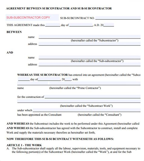 subcontractor agreement template subcontractor agreement 7 free sles exles format