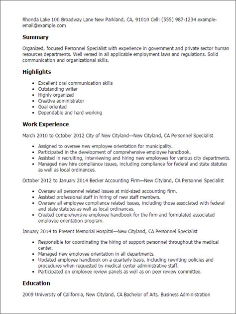 Resume Format For German Language Specialist Professional Personnel Specialist Templates To Showcase Your Talent Myperfectresume