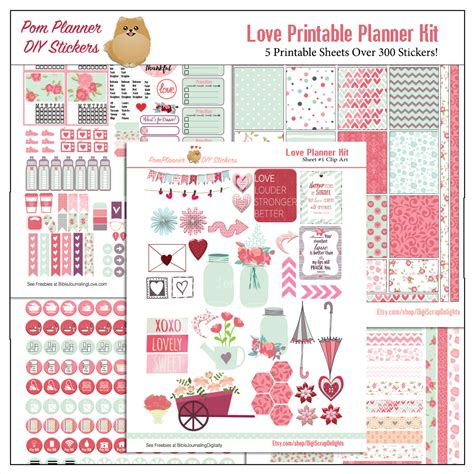 printable planner kits love kit and free printable planner stickers