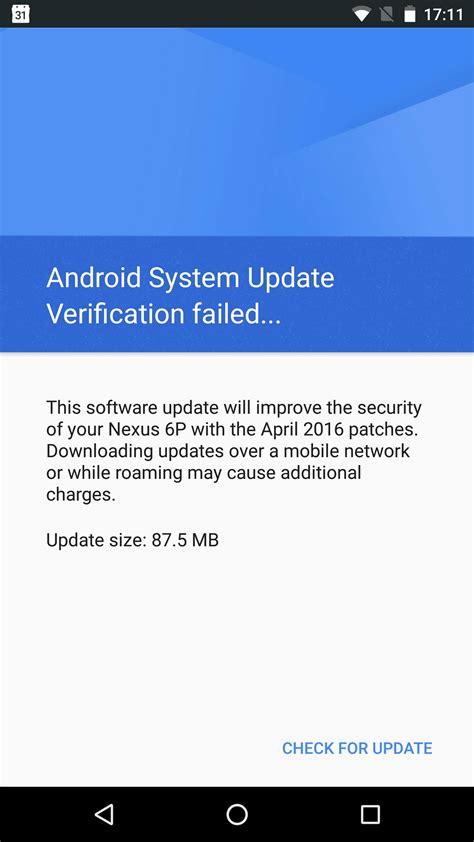 android system update ota update quot verification failed quot for ota quot april 2016 patches quot on a nexus 6p android