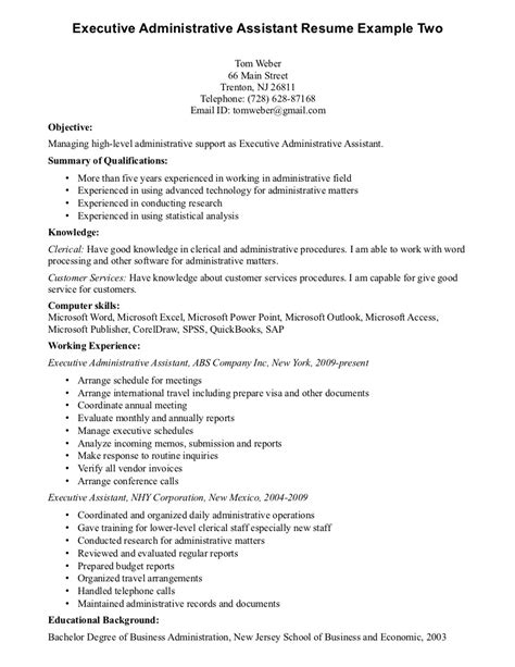 Executive Assistant Resume Templates by Executive Assistant Resume Templates Sle Stibera Resumes
