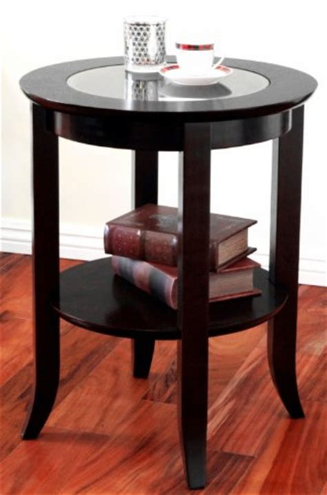 espresso accent table frenchi furniture wood genoa end table round side accent table inset glass espresso