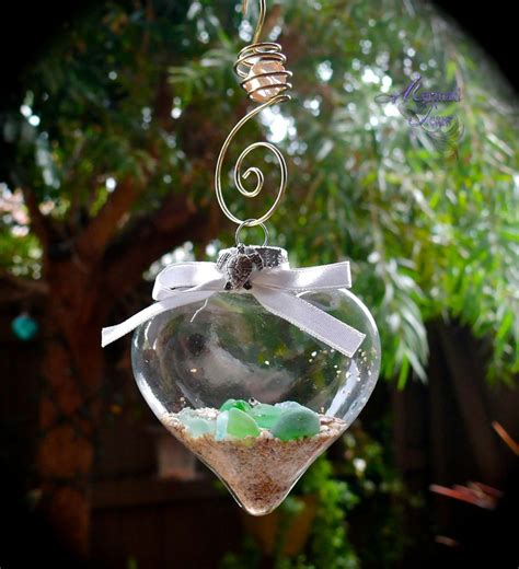 sea glass ornament with silver turtle hawaiian honu