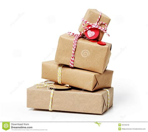 Handcraft Gift - stack of gift boxes on white background royalty free stock